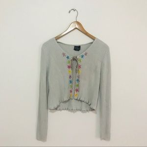 Gray Ribbed Cropped Flower Cardigan